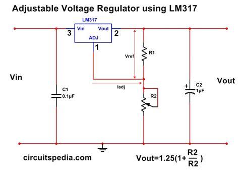 1 5a adjustable variable dc voltage regulator circuit using lm317