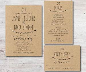 rustic wedding invitation rsvp details card kraft paper With sample of wedding invitation details