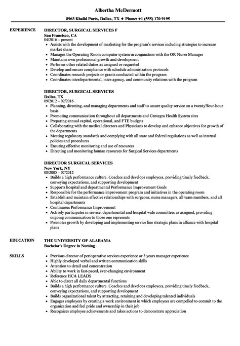 Surgical Resume by Director Surgical Services Resume Sles Velvet