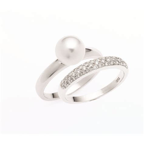 Pearl and Diamond Wedding Ring Sets
