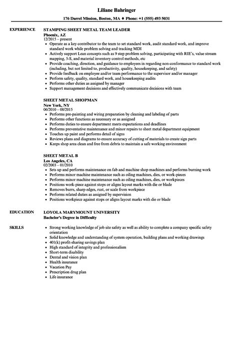 sheet metal resume samples velvet jobs