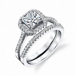 sterling silver princess cut cz engagement wedding ring With sterling silver cubic zirconia wedding rings sets