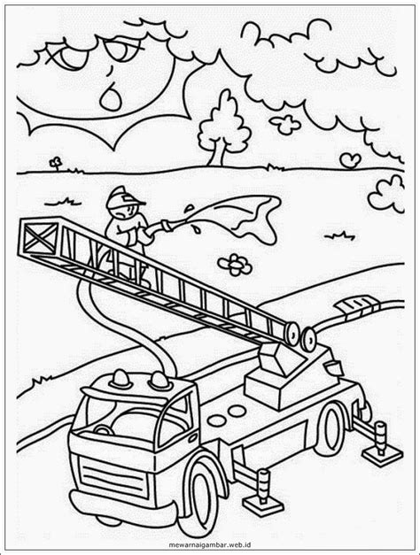mewarnai gambar profesi pemadam kebakaran mewarnai gambar
