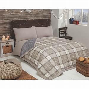 Check, Brushed, Reversible, Bedspread, -, Natural