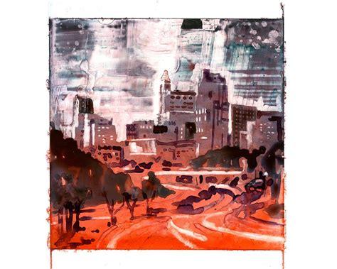 skyline  downtown raleigh nc  dawn usa watercolor