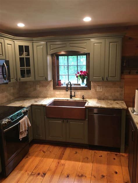 copper farmhouse sink sage green kraftmaid cabinets