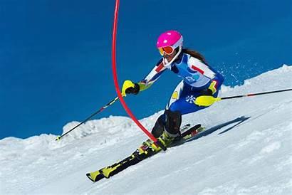 Slalom Female Skier Ski Skiing Race Young