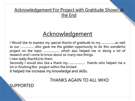 Acknowledgement For Project With Gratitude Shown At The ...