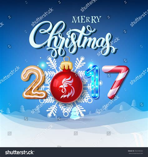 merry 2017 decoration poster card stock vector