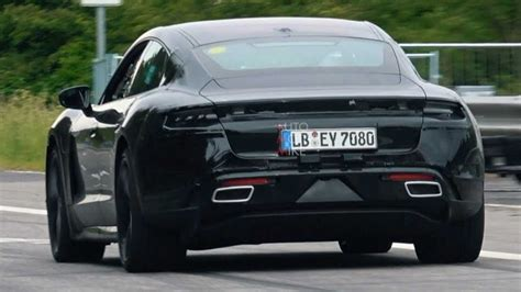 2020 porsche mission e electric sedan spied testing alongside teslas porsche taycan spied during tire screeching test at the ring