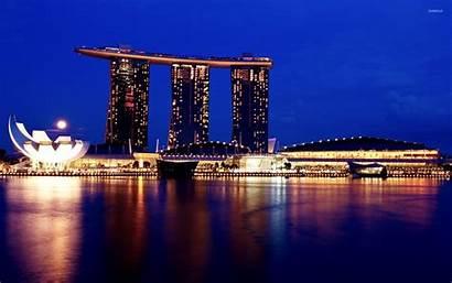 Marina Bay Sands Wallpapers Night Singapore 4k