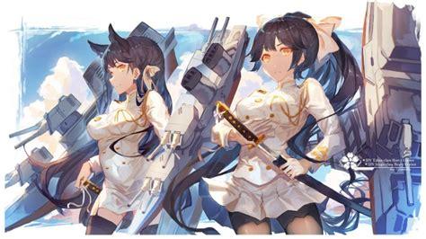 wallpaper azur lane takao atago anime girls katana