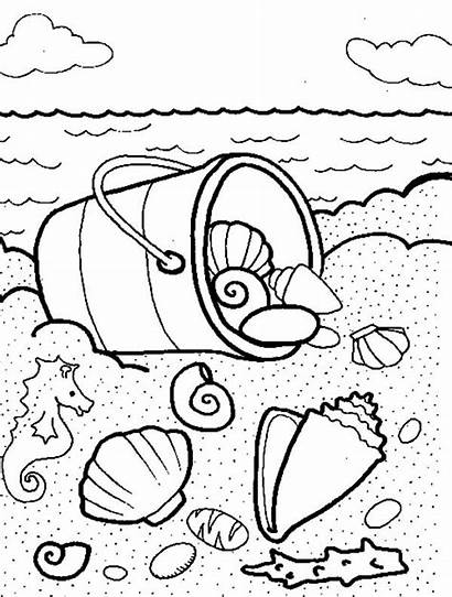 Coloring Shells Sea Pages Bucket Seashells Beach