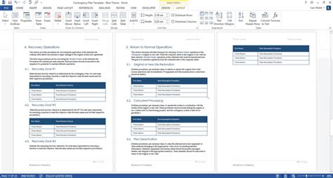 contingency operations plan template contingency plan templates ms word 9 x excels