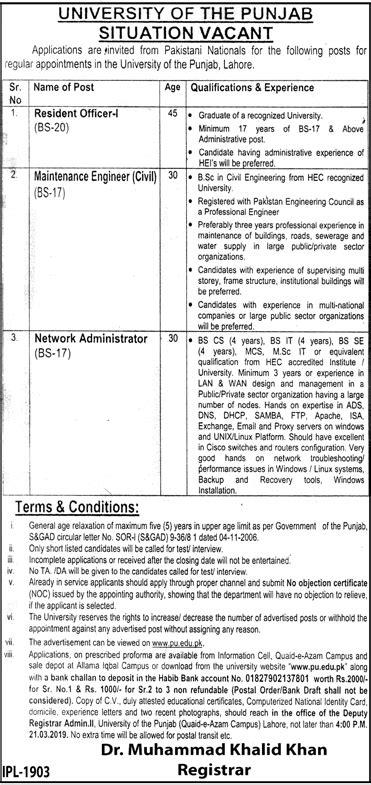 Punjab University Lahore Jobs 2019 by www.pu.edu.pk Latest