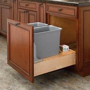 Rev-A-Shelf Double Trash Pullout 30 Quart-Wood 4WCBM