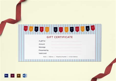 Birthday Cheque Template Happy Birthday Gift Certificate Design Template In Psd