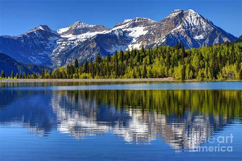 cascade bag mt timpanogos reflected in silver flat reservoir utah