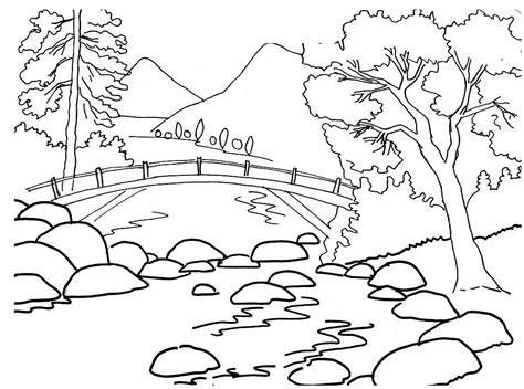 Coloring Menggambar by Mewarnai Gambar Pemandangan Jembatan Srg Gambar