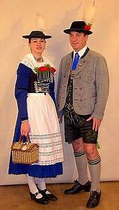 A Couple Wearing Miesbacher Tracht The Man Is Wearing
