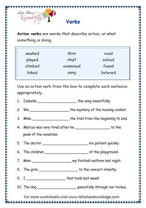 grade  grammar topic  verbs worksheets lets share
