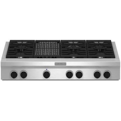 "KitchenAid KGCU482VSS Commercial Style 48"" Gas Rangetop"