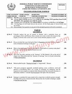 Css Past Papers 2014 English Literature Paper 2