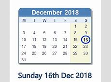 December 16, 2018 Calendar with Holiday info and Count
