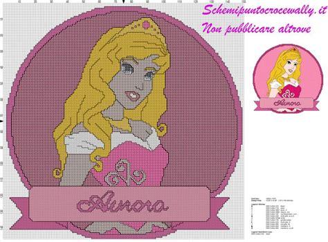 Schema Punto Croce Principessa Disney Aurora Per Cuscino