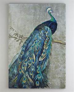 Framed Handmade Peacock oil painting with silver foil ...