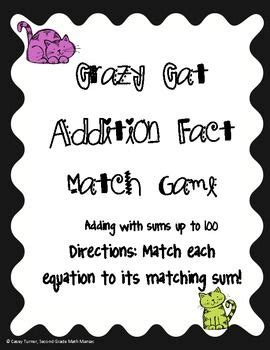 crazy cat addition fact game nbt  images