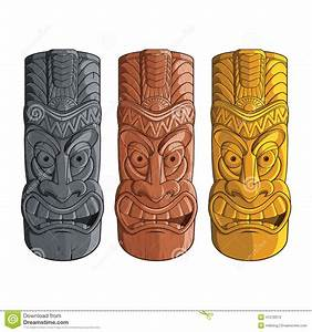Illustration Of Tiki Statues In Stone, Wood And Gold