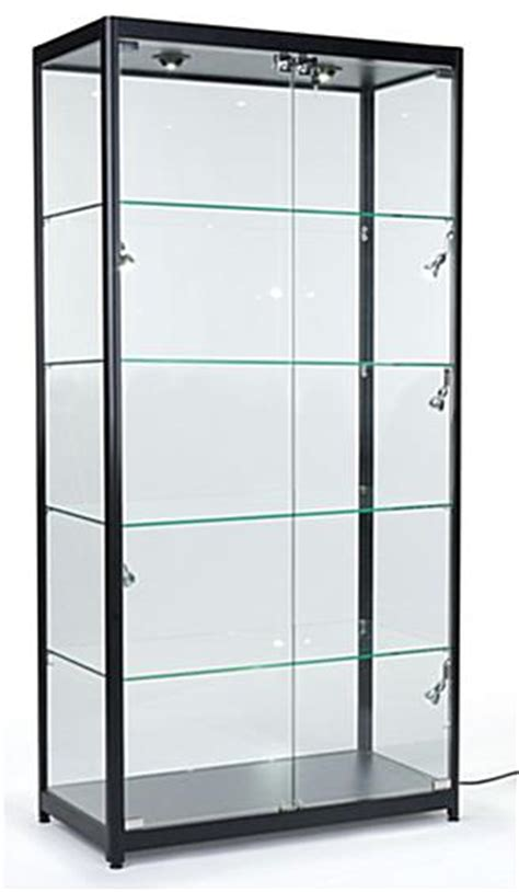curio cabinets cheap locking showcase black frame melamine showcase