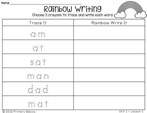 journeys grade spelling words rainbow writing all