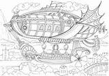 Coloring Airship Printable Adult Colouring Favoreads sketch template