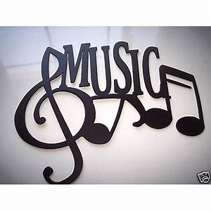 Metal wall art music word with notes by sayitallonthewall