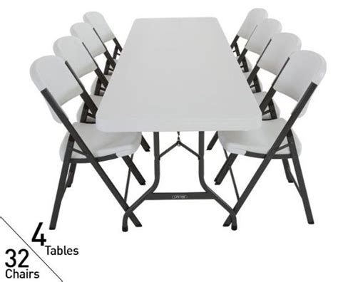 4 tables 32 chairs lifetime 8 ft commercial folding