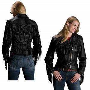 Interstate Leather Women's Madonna Fringe Black Leather Jacket 120 041 J&P Cycles