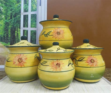 sunflower canisters for kitchen new sunflower garden collection handcrafted 4 piece kitchen canister set coffee ebay