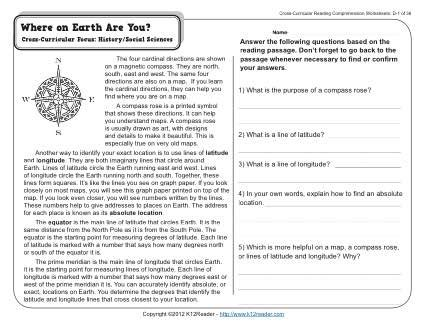 where on earth are you 4th grade reading comprehension worksheet