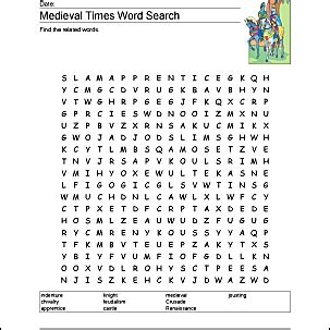 medieval times wordsearch crossword puzzle