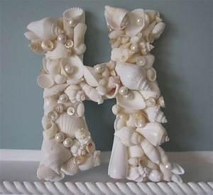Shell letter for beach decor nautical decor seashell for Seashell wall letters