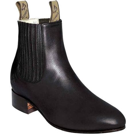 el canelo black deer leather botin charro ankle boots