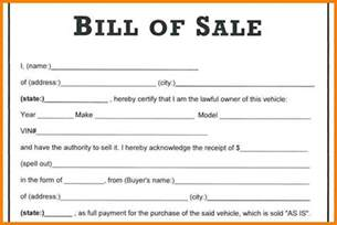 Bill Of Sales Exle by Printable Automobile Bill Of Sale Template In Word Format