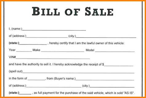 car bill of sale word printable automobile bill of sale template in word format