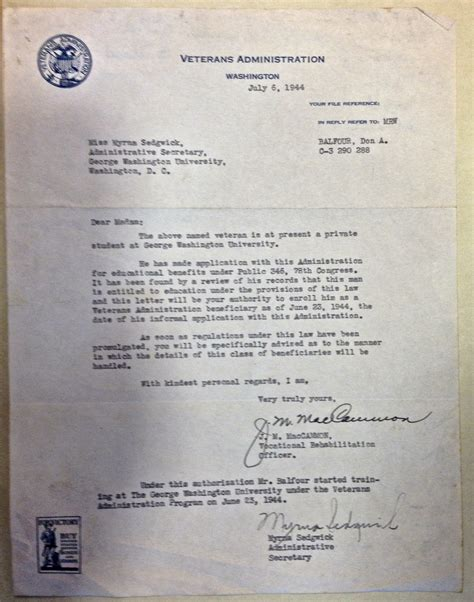 file veterans administration letter for don a balfour