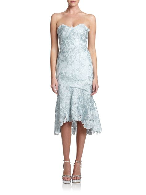 lyst notte by marchesa strapless embroidered lace dress