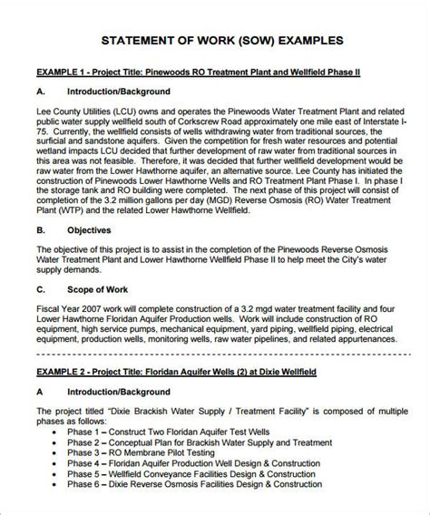 statement of work template 13 statement of work templates sle templates