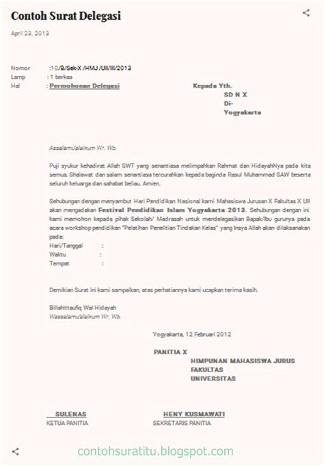 Contoh Surat Permintaa by Contoh Surat Delegasi Yang Sederhana Tapi Benar