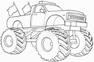 Line Drawing Of A Monster Truck Stock Illustration